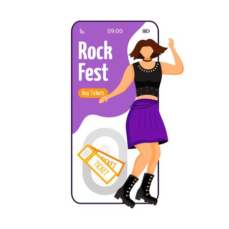 Rock fest cartoon smartphone vector app screen. Tickets. Dancing punk girl. Fangirl at concert, gig. Mobile phone display with flat character design mockup. Application telephone cute interface Çizim