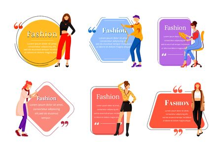 Fashion designer flat color vector character quote set. Individual tailoring. Successful females. Modern trendsetters. Citation blank frame template. Speech bubble. Quotation empty text box design