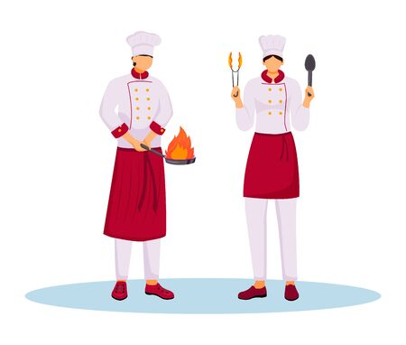 Hotel chefs in uniform flat color vector illustration. Kitchen staff, service personnel, restaurant workers. Two cooks with cooking utensils isolated cartoon characters on white background