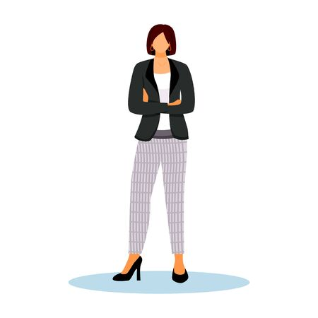 Hotel administrator flat color vector illustration. Confident woman standing with crossed arms. Administration staff. Hospitality service worker isolated cartoon character on white background