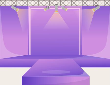 Violet runway platform flat color vector illustration. Empty podium stage. Catwalk with spotlights. Fashion week demonstration area. Presentation of new collection. Fashion shows background