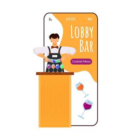 Lobby bar cartoon smartphone vector app screen. Mobile phone display with bartender flat character design mockup. Drinks ordering, restaurant service. Cocktail menu application telephone interface