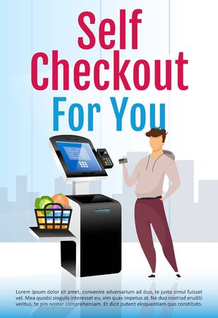 Self check out brochure template. Digital store counter flyer, booklet concept with flat illustration. Contactless payment vector page cartoon layout for magazine. Online pay kiosk advertising