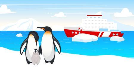 Antarctic wildlife flat vector illustration. Emperor penguins. Marine flightless bird family. Winter snow landscape. Boat in ocean. Ship in sea on background. Arctic animal cartoon characters Archivio Fotografico - 138456483