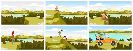 Forest expedition flat vector illustration. Tourist group in car on green landscape. River stream, water body. Man and woman sitting. People climbing hill. Female and male cartoon characters Zdjęcie Seryjne - 138456435