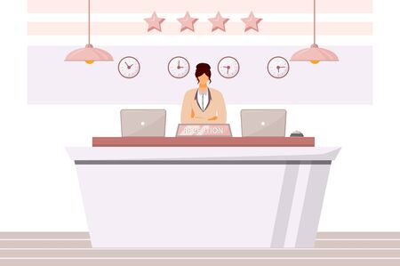 Female receptionist flat color vector illustration. Hotel waiting area, lobby. Front desk clerk, guest registration. Administrative support worker isolated cartoon character on white background Çizim