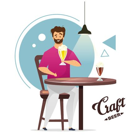 Craft beer production flat color vector illustration. Microbrewery. Small brewery. Homebrewer. Man with pint of beer at table. Guy in bar, pub. Isolated cartoon character on white background