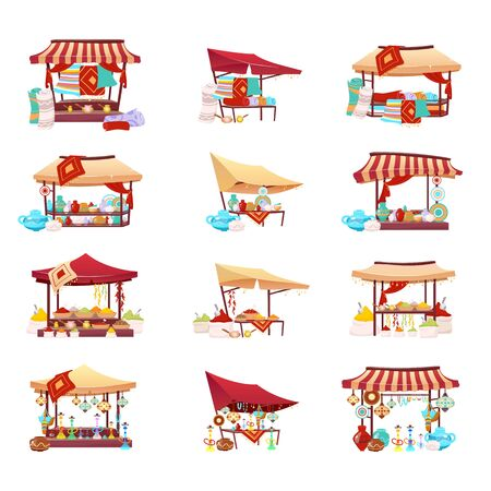Bazaar trade tents cartoon vector illustrations set. Middle east marketplace flat color objects. Retail canopy with souvenirs, handmade pottery, hookah and crafted carpets isolated on white background