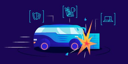 Driverless car crash test flat color vector illustration. Self driving van smashing against wall on blue background. Safety bag, damage resistance and obstacle detection system examination