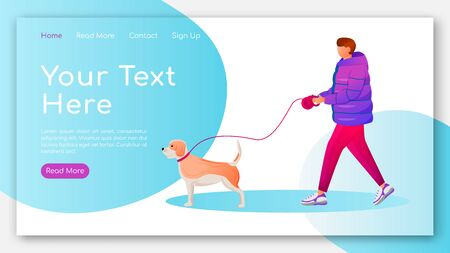 Man in coat landing page flat color vector template. Caucasian guy walking dog homepage layout. Rainy day one page website interface with cartoon characters. Wet weather web banner, webpage Çizim