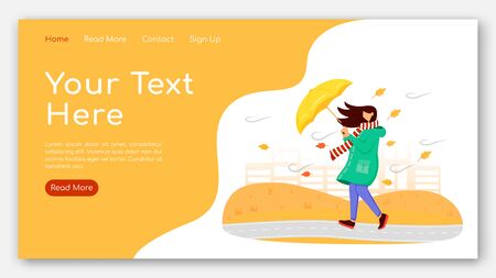 Woman in raincoat landing page flat color vector template. Female with umbrella homepage layout. Autumn nature one page website interface with cartoon character. Windy weather web banner, webpage Çizim