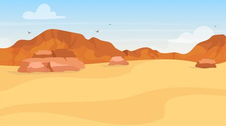 Dunes flat vector illustration. Sand desert exploration. Panoramic egyptian landscape. Arabic wilderness. African land. Draught environment. Plato view. Mountain hills. Wasteland cartoon background Çizim