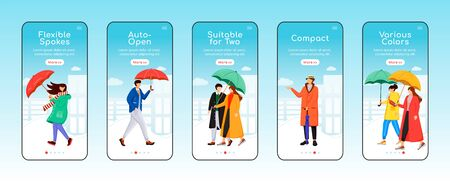 Umbrellas onboarding mobile app screen flat vector template. Flexible spokes. Compact umbel. Walkthrough website steps with characters. UX, UI, GUI smartphone cartoon interface, case prints set Çizim