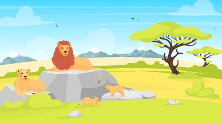 Savannah landscape flat vector illustration. African environment with lions lying on rock. Safari field with trees and creatures. Conservation park. South animals cartoon characters Çizim