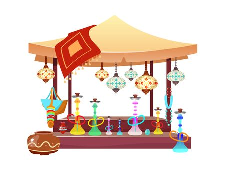 Eastern market tent with hookahs cartoon illustration. Oriental bazaar awning with shisha, handmade accessories and souvenirs flat color object. Egypt, Istanbul marketplace stall isolated on white