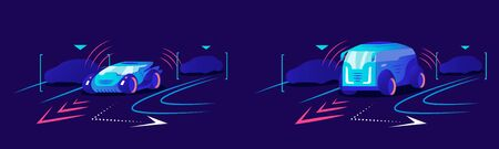 Driverless cars flat color vector illustrations. Autonomous transport, self driving vehicles on blue background. Futuristic electric car and van with smart traffic navigation, auto piloting system.