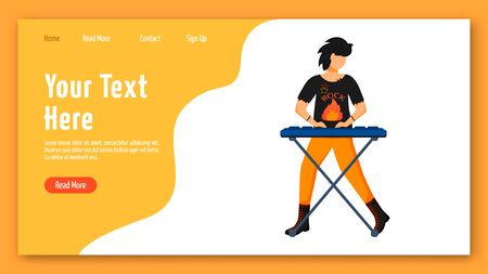 Keyboardist landing page vector template. Keyboard player website interface idea with flat illustrations. Musician homepage layout. Music band member web banner, webpage cartoon concept