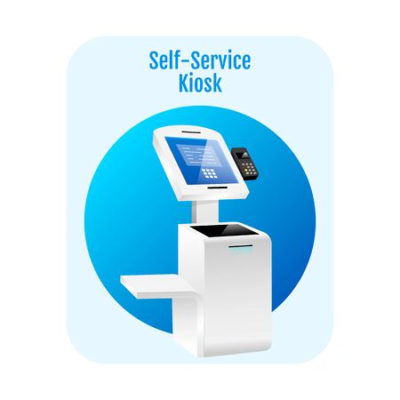 Self service kiosk flat concept icon. Payment terminal sticker, clipart. Digital software with sensor interface. Freestanding banking construction isolated cartoon illustration on white background Çizim