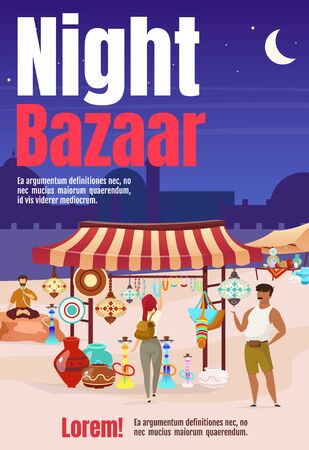 Night bazaar poster flat vector template. Turkey, Egypt street market with souvenirs. Brochure, cover, booklet one page concept design with cartoon characters. Advertising flyer, leaflet, newsletter