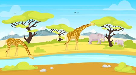 African conservation flat vector illustration. Giraffes and elephants near watering place. River streaming through savannah. Green landscape. Panoramic scenery. South animals cartoon characters