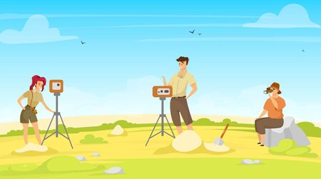 Field survey flat vector illustration. Study group, exploration team. On site research with equipment. Woman and man professionals, geodesy exception. Soil examination. Scientists cartoon characters