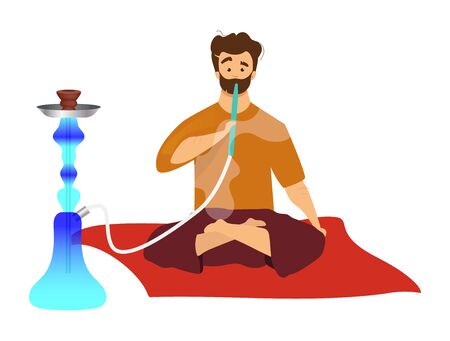 Man sitting and smoking hookah flat color vector faceless character. Tourist with egyptian sheesha, hooka. Eastern traditional habit, arabian smoking culture isolated cartoon illustration on white