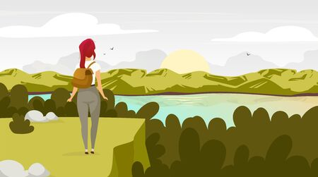 Sunrise in forest flat vector illustration. Backpacker watching sunrise. Woman on mountain peak. Sunset on lake. Scenic landscape. Trekking destination. Female tourist cartoon characters Çizim