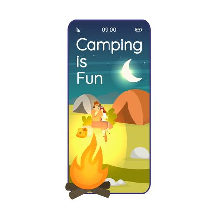 Camping is fun cartoon smartphone vector app screen. Overnight stay in wilderness. Mobile phone displays with flat character design mockup. Expedition site application telephone cute interface