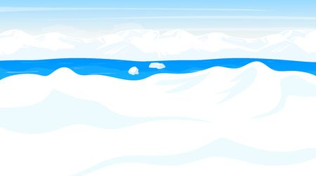 North pole flat vector illustration. Antarctic landscape. White snow desert, panoramic land with ocean. Polar cold scene. Nordic surface. Frost fjord. Alaska. Arctic cartoon background