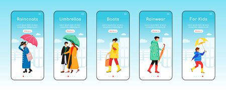 Rainwear onboarding mobile app screen flat vector template. Umbrellas and boots. Kids raincoats. Walkthrough website steps with characters. UX, UI, GUI smartphone cartoon interface, case prints set Çizim