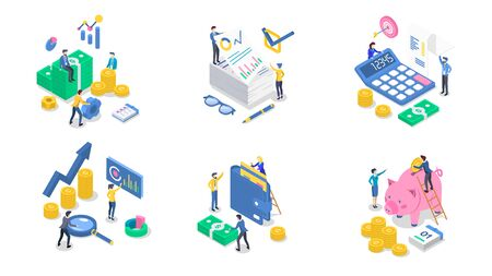 Accounting and audit isometric color vector illustration set. Business analytics and planning. Salary payment. Saving money. Banking. Bookkeeping. Investment. 3d concept isolated on white background