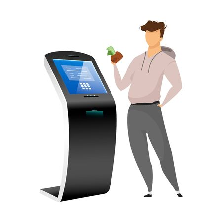 Cash machine user flat color vector faceless character. Man with money near bank terminal isolated cartoon illustration on white background. Freestanding construction for financial operations