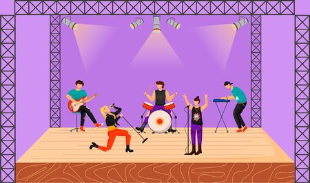 Punk rock band flat vector illustration. Music group with two vocalists performing at concert. Musicians playing together on stage. Live musical performance. Festival. Cartoon characters