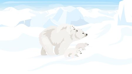 North pole flat vector illustration. Antarctic landscape with polar bear family. Snow desert, panoramic white land. Polar animals. Wild environment. Arctic creature cartoon wallpaper