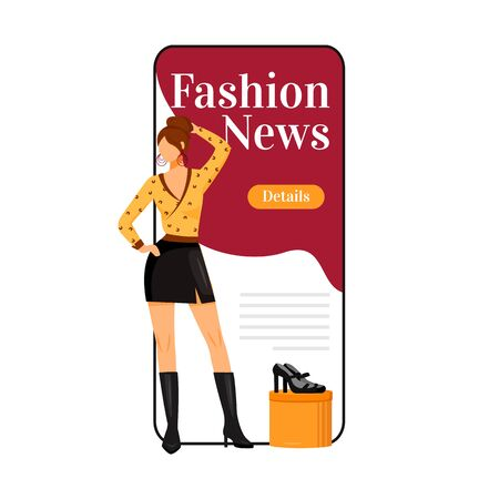 Fashion news cartoon smartphone vector app screen. Catwalk model style. New designer outfits. Mobile phone display with flat character design mockup. Fashion trends application telephone interface