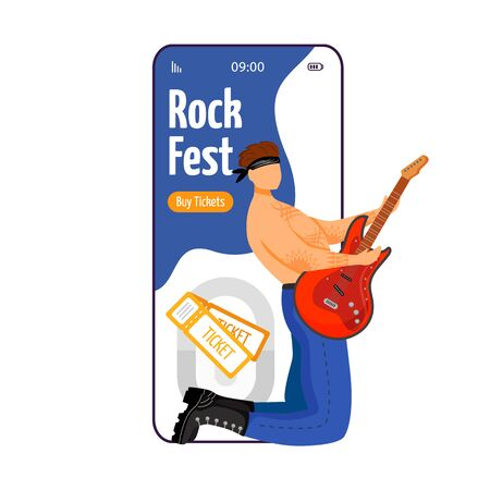 Rock fest cartoon smartphone vector app screen. Tickets. Guitarist. Concert, gig. Festival, event. Mobile phone display with flat character design mockup. Application telephone cute interface