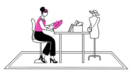 Fashion designer in atelier flat contour vector illustration. Sewing, reparing hat in studio isolated cartoon outline character on white background. Creating accessories at workshop simple drawing Çizim