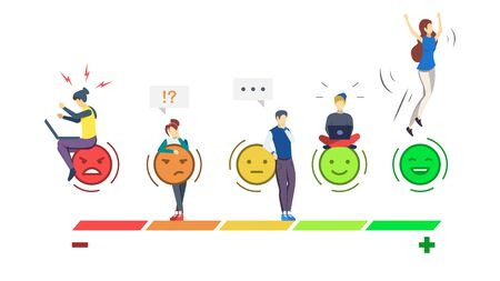 Mood rating scale semi flat RGB color vector illustration. Emotions. User experience. Customer satisfaction. Consumer feedback. Client review. Quality evaluation. Isolated cartoon character on white Stock Illustratie