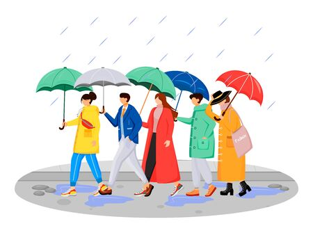 People in raincoats flat color vector faceless characters. Walking caucasian humans with umbrellas. Rainy day. Men and women on road isolated cartoon illustration on white background