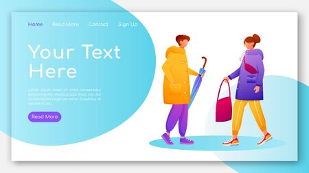 People in raincoats landing page flat color vector template. Walking caucasian humans homepage layout. Rainy day one page website interface with cartoon characters. Wet weather web banner, webpage Çizim