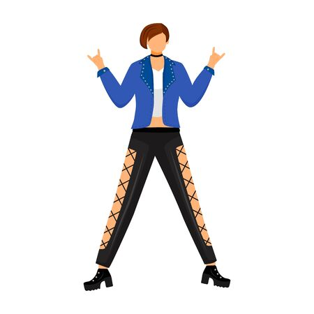 Punk girl flat color vector illustration. Female character on dance floor in nightclub. Young woman at rock concert, festival. Fangirl at gig. Isolated cartoon character on white background