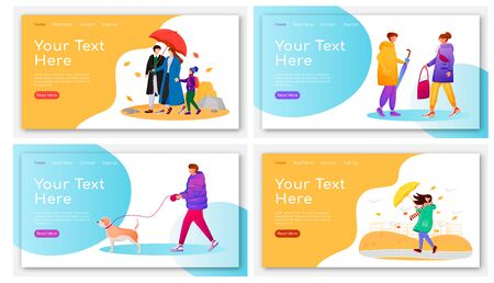 Walking people landing page flat color vector templates set. Humans with umbrellas homepage layouts. Rainy day one page website interface with cartoon characters. Wet weather web banner, webpage