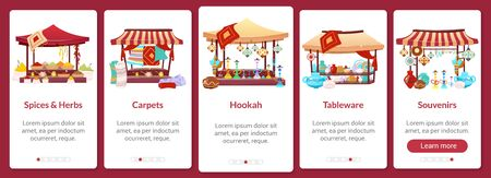 Bazaar onboarding mobile app screen flat vector template. Asian street market. Oriental fair. Walkthrough website steps with isolated characters on white. UX, UI, GUI smartphone cartoon interface