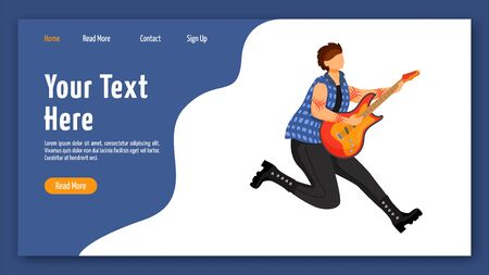 Guitarist landing page vector template. Jumping guitar player website interface idea with flat illustrations. Musician homepage layout. Music band member web banner, webpage cartoon concept Çizim