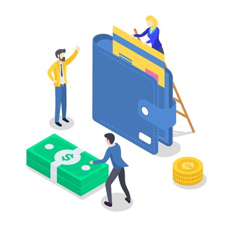 Salary payment isometric color vector illustration. Accounting and audit. Saving money. Revenue increase. Banking. Annual bonus. Payout, payday. People receiving wage. 3d concept isolated on white