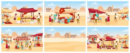 Egypt bazaar flat color vector illustrations set. Arab outdoor market with carpets, spices, handmade pottery. Tourists buying crafted souvenirs cartoon characters. Eastern souk on desert background