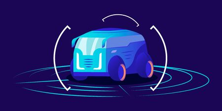 Driverless car flat color vector illustration. Futuristic autonomous transport, framed self driving van on blue background. Smart transport detection system interface, virtual showroom concept