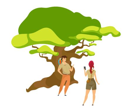 Tourist flat color vector illustration. Woman photographing man near tree. Hikers in woods. Couple of explorers. Adventurers with greenery. Backpackers isolated cartoon character on white background