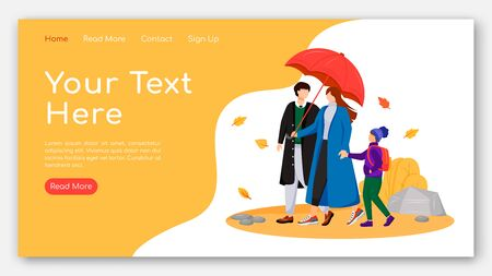 Walking family landing page flat color vector template. Parents with child homepage layout. Autumn nature one page website interface with cartoon characters. Couple with umbrella web banner, webpage