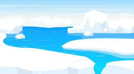 Illustration vectorielle plane du pôle Sud. Paysage antarctique avec bords d'icebergs. Terrain panoramique de neige blanche avec océan. Scène de froid polaire. Surface nordique. Fjord de givre. Alaska. Fond de dessin animé arctique
